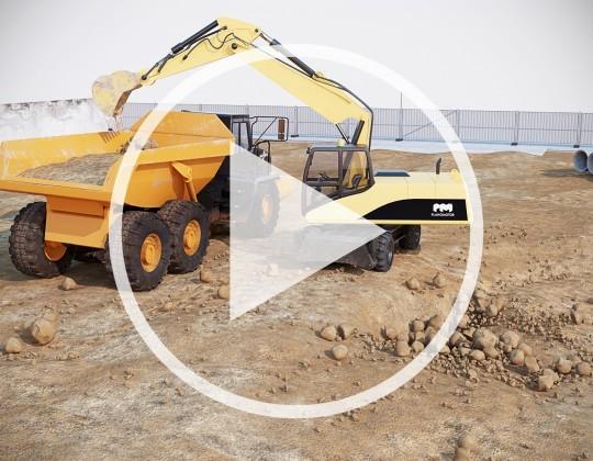 Animação de escavadeira